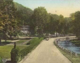 Vintage 1930's Hand Colored Postcard Bedford Springs Hotel Pennsylvania