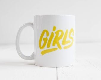 Mug Girls / girlpower / girls / girlboss / jaune / calligraphie