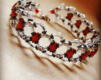 Floating Diamonds bracelet, duo, red, gift, armcandy, unique, statement