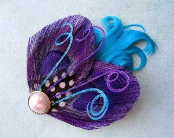 JULIETTE Purple Peacock Hair Clip, Feather fascinator