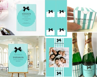 Breakfast at Tiffany's Bridal Shower, Sign, Photo prop frame, Invitation, Food tent cards, mini champagne labels and favor box personalized