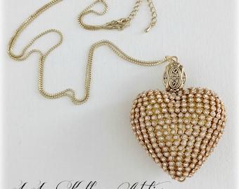 Large GOLD RHINESTONE HEART Necklace
