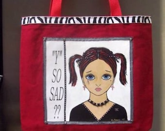 Gothic Girl Handpainted Tote Bag OOAK