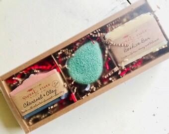 Gift Sets, Soap gift set, Gift Box, Goats Milk Soap, sponge, Sweet River Soap Co