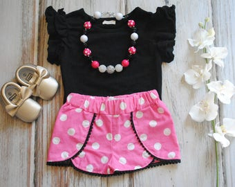 Minnie Mouse Inspired Shorts - Coachella Shorts - Minnie Mouse Outfit - Minnie Shorts - Minnie Outfit - Minnie Birthday Outfit