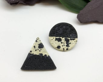Black and White Earrings - Triangle and Square Earrings - Geometric Stud Earrings