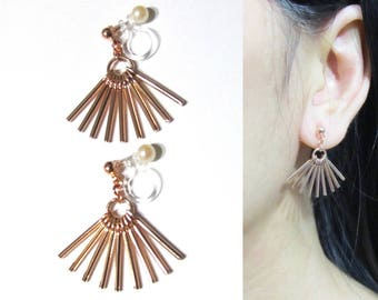 "Dangle Clip-on Earrings |24M| Rose Gold GP ""Rays of Sunlight"" Fan Bar Ethnic Tribal clipon Earring Long Clip Earrings Invisible Clip-ons"