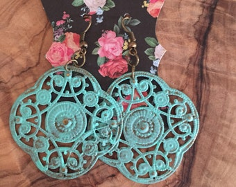 Hand Painted Turquoise/Antique Gold Filagree Earrings