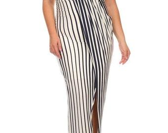 Plus Strapless Dress, Plus Knee Length Dress, Plus Strapless Midi, Plus Striped Dress, Gift for Her,