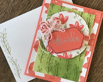 Handmade Thank You card; floral