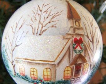Christmas ornament, Glass Ornament, Round ball Ornament, primitive folk art ornament, hand painted ornament