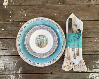 Mismatched Plate set, Turquoise and white, Dinner Plates, Salad and Dessert Plates, mismatched set of 3
