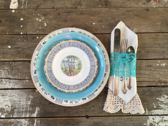 Like this item? & Mismatched Plate set Turquoise and white Dinner Plates