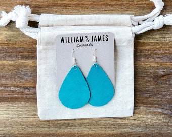 Turquoise Leather Drop Earrings, Leather earrings, Statement earrings