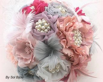 Brooch Bouquet, Vintage Lilac, White, Rose, Fuchsia, Silver, Gray, Wedding, Bridal, Jeweled, Lace, Feather Bouquet, Pearls, Vintage