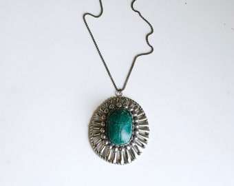 1930s scarab and silver statement Egyptian necklace / 30s vintage green faience scarab beetle bead pendant necklace / antique silver plate