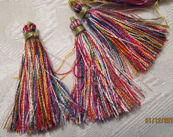 """50mm / 2"""" Tassels, Multi-Colored, Rayon (Imitation Silk) - Available in 4, 6, 10 & 20 Tassel Pkgs and in Larger Pkgs"""