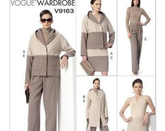 Vogue V9163 Size 6-14 or 14-22 Misses' Loose Fit Jacket w/ Hood,Skirt and Pants Sewing Pattern / UNCUT Factory Folded
