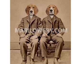 Beagle Art, 5 x 7 Inch Dog Art Print, Anthropomorphic Animals in Clothes, Dog in Suit, Twin Brothers, Animal Portrait, Year of the Dog