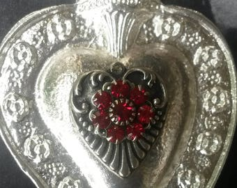 OPULENZA,Sacred heart,swarovski sacred heart,Milagro heart,Sacred silver heart,Ex voto heart