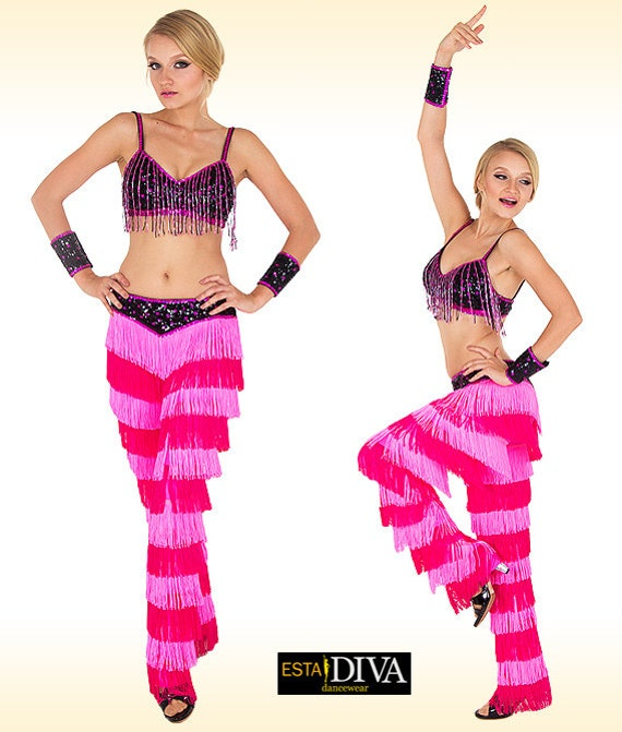 Fringe pants costume Salsa fringe pants Latin dance costume