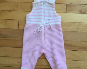 Vintage 1980s Baby Infant Girls Pink Striped Knit Overalls! Size 6-12 months