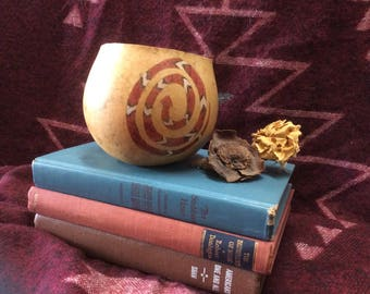 """Decorative gourd, painted gourd, gourd decorations, """"Snake Basket"""""""