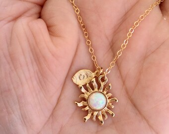 14K Gold Filled Chain White Opal Sun with Leaf Necklace. Gold Necklace. Opal Necklace.