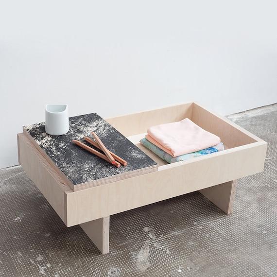 Letterpress Tray Coffee Table: Coffee Table / Wood Birch / Tray Texture / Scandinavian Design