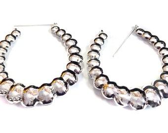 PUFFED BUBBLE HOOP earrings 3 inch Silver or Gold Tone Puffy Hoop Earrings