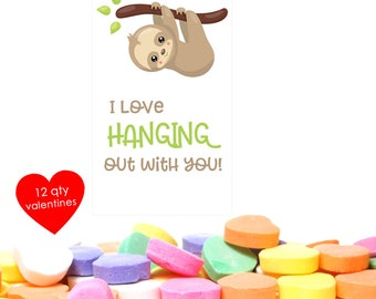 12 Sloth Valentine- Sloth Valentines Day- Classroom Valentines- Class Valentines- Class Valentine Cards- School Valentines- Girls Valentine