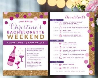 Bachelorette Itinerary, Bachelorette invite with itinerary, wine tasting bachelorette invite, hens weekend invitation, gold glitter, digital