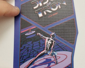 Discs of Tron contour  cabinet side art sticker. (Buy any 3 of my stickers, GET ONE FREE!)