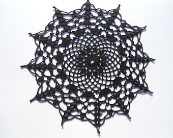 "Black crochet doily , lace doily , round , 10 "", Halloween decor , Halloween doily"