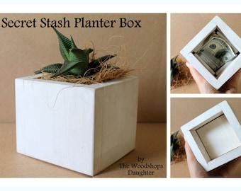 Plant Pot with Secret Hiding Spot, Succulent Planter, Hide A Key, Faux Bottom, Small Planter, Air Plant Pot, Boho Bohemian Decor, Plant Box
