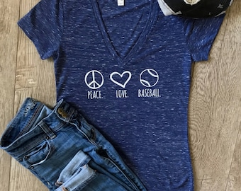 Peace Love Baseball Shirt • Baseball Mom Shirt • Baseball Wife Shirt • Womens and Plus Size Baseball Shirt • Baseball Gifts • Baseball Tee