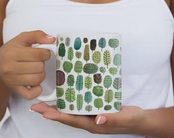 Trees Pattern Mug, Colorful Mug, Water Color Illustration, Coffee Mug, Tea Mug, Gift For Her, Gift For Him