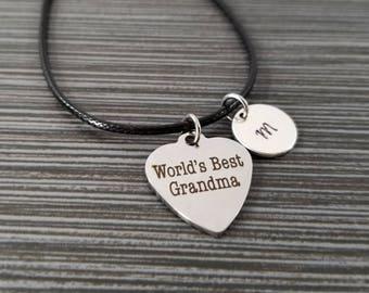 Cord Charm Bracelet - Cord Bracelet - Black Bracelet - World's Best Grandma Bracelet - Gift for Grandma - Gift for Nana - Grandmother Gift