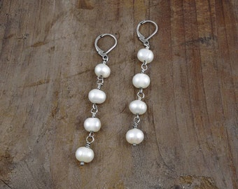 LONG PEARL EARRINGS, nickel free, special gift, under 30 dollars, 925 sterling silver, pearls, stylish jewelry
