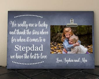 Personalized Free Photo Clip Frame, We really are so LUCKY and thank the STARS above, Perfect for Christmas, Stepdad, Daddy, Grandpa  wr02