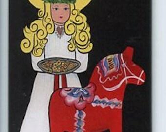Swedish Lucia & Dala Horse Magnet #REM324