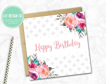 Birthday Card {GEO FLORAL}