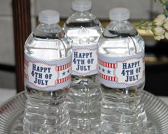 Happy 4th of July Water Bottle Labels   Instant Download   Printable DIY   Independence Day   Freedom