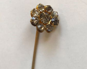 Vintage Rhinestone Stick Pin in Forget-me-not Pattern