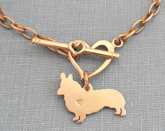 Pembroke Welsh Corgi Dog Chain Bracelet, Solid Jewelrs Brass Personalize Pendant, Breed Silhouette Charm, Rescue Shelter, Pet Lover Gift