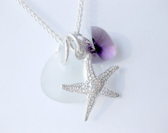 Sea Glass Star fish jewelry  Seaglass Necklace  Beach Glass Jewelry Handmade, Custom Jewelry