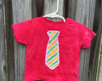 Kids Shirt with Tie, Toddler Shirt with Tie, Boys Shirt with Tie, Red Tie Shirt, Boys Tie Shirt, Girls Tie Shirt, Kids Tie Shirt (18 months)