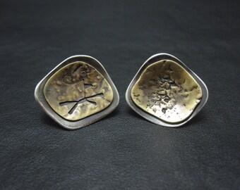 Silver Stud Earrings, Silver Post Earrings, Mixed Metal Stud Earrings, Mixed Metals Post Earrings, Handmade Earrings, Metalsmith Jewelry