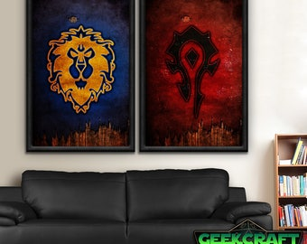 Alliance, Horde, Alliance, HS, WOW, World of Warcraft, Warcraft, Alliance, Horde, Hordes, Banner, Pandaria, Legion, World, Poster Print Set