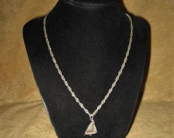 Sterling Twisted Chain Necklace with Sailboat Pendant Vintage